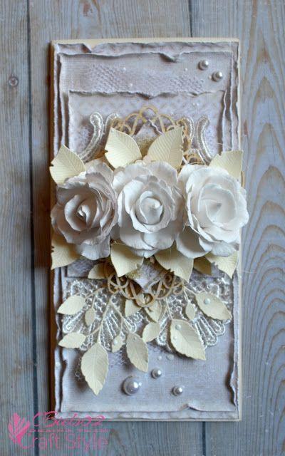 Małe i duże twórcze podróże ... scrapowe :), Card with lace and flowers