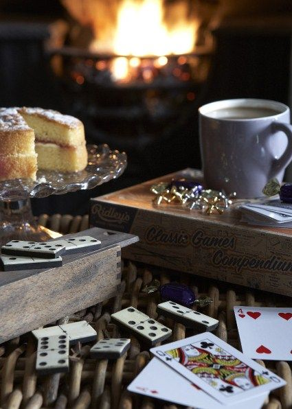 A sweet treat, a hot mug of something yummy, and games by the fire- sounds perfect to me :-)