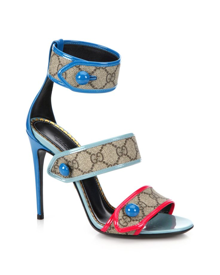 Gucci | Multicolor Harleth Logo Canvas & Patent Leather Strappy Sandals |  Lyst