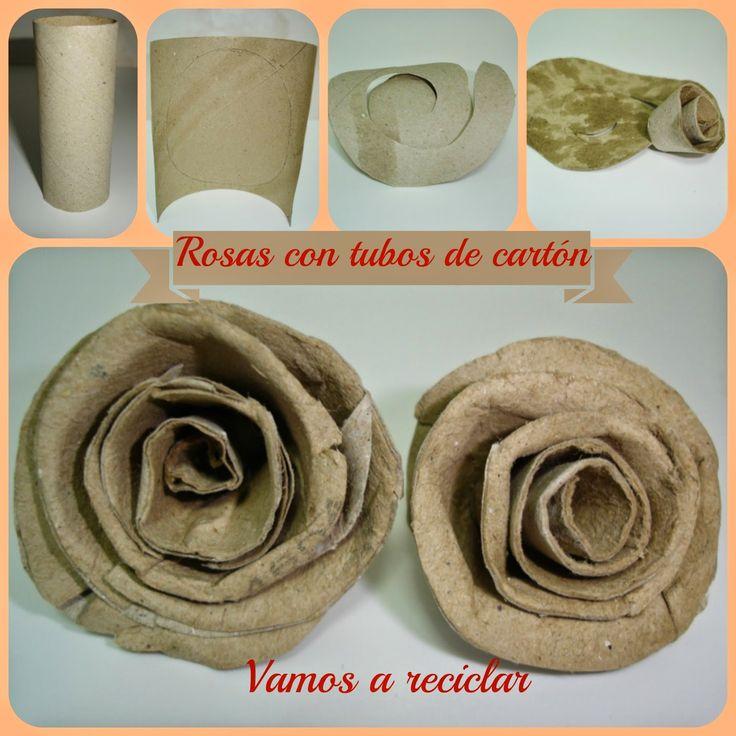 ¡Vamos a reciclar!: Rosas con tubos de papel higiénico