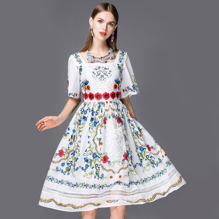 2016 mulheres primavera vestidos de verão retro bordados de flores do vintage imprimir runway luxo partido prom vestido longo mulher…