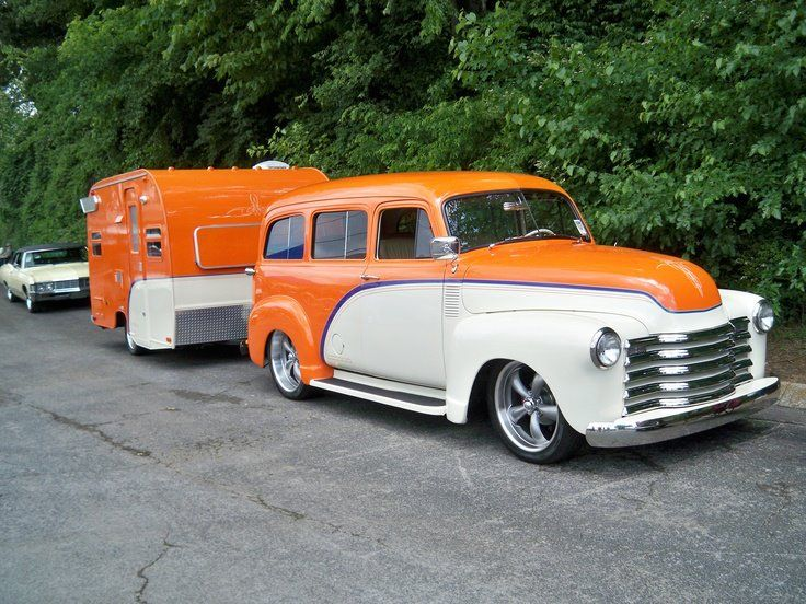1949 Two Tone Chevy Suburban With Matching Trailer