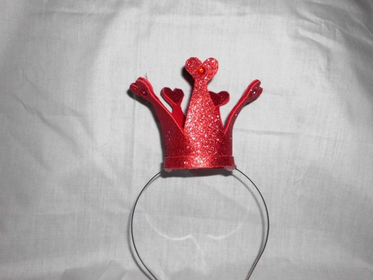 Queen of Hearts, Red Crown, Mini, Tiny, Sparkle, Princess, Headband, Burlesque,