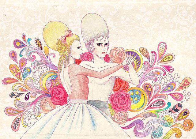 Rehersal : Rococo Dance  #illustration #coloredpencils #rococo # couple #dance #ballet #rehersal #drawing #painting #art #일러스트 #일러스트레이션 #드로잉 #그림 #색연필 #댄스 #발레 #paisley #zentangle