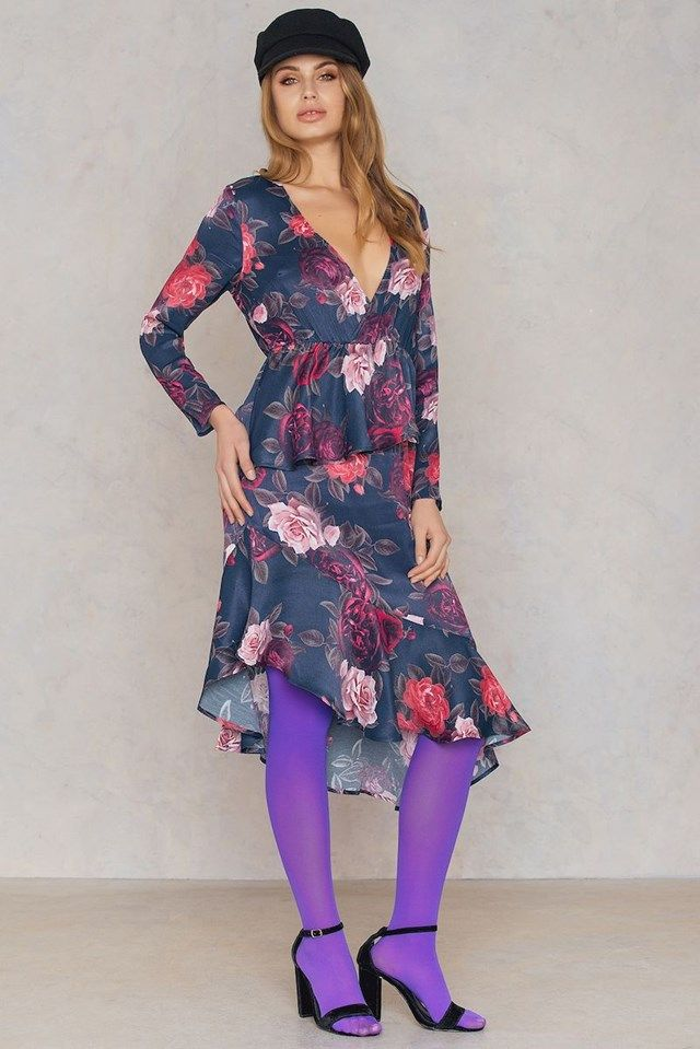 NA-KD Coloured Tights - Go big or go home! The Coloured Tights by NA-KD Accessories comes in the color purple and features classic nylon tights in a bold color. Style them with a black dress and heels for a fun look! Shop at www.fashion-tights.net #tights #pantyhose #hosiery #nylons #legs