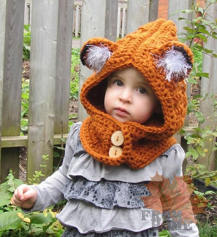 Little Girl Wearing Orange Fox Hat with Fuzzy Ears