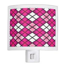 """""""Stained Glass"""" Argyle Hot Pink Night Light"""