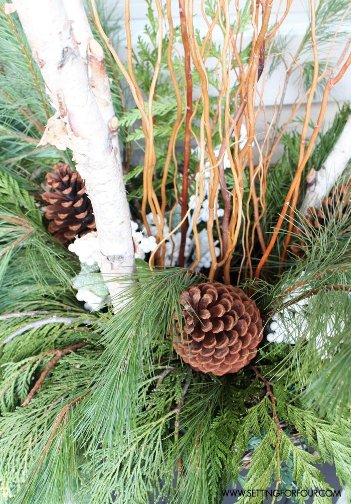 See my Winter Urn Decor filled with greenery and birch! www.settingforfour.com