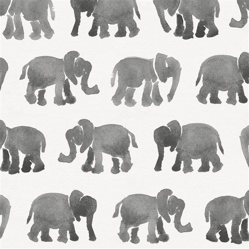 Gray Watercolor Elephants Fabric by Carousel Designs.  This animal print antique white fabric is perfect for boys or girls. It is a medium weight fabric made of Cotton material.