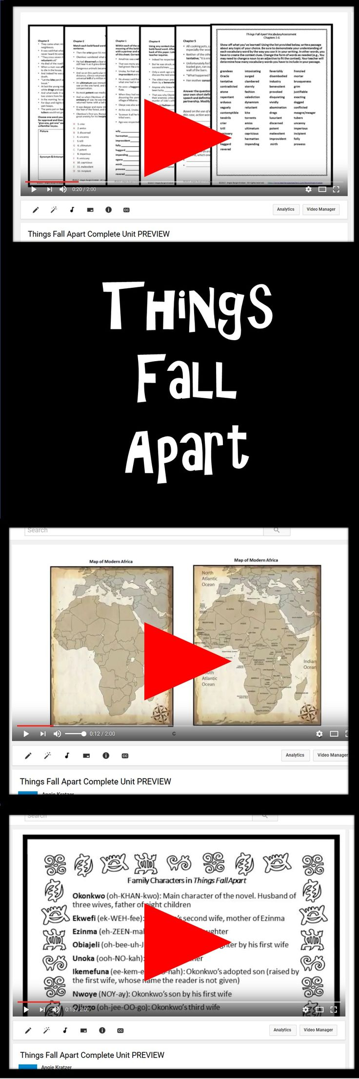 Know what you're buying! This two-minute video shows the bulk of Angie Kratzer's 170-page unit for Chinua Achebe's Things Fall Apart.