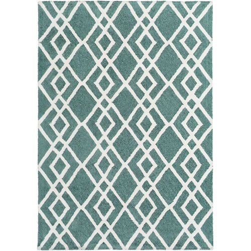 Silk Valley Lila Teal and Ivory Rectangular: 8 Ft x 11 Ft Rug - (In Rectangular)
