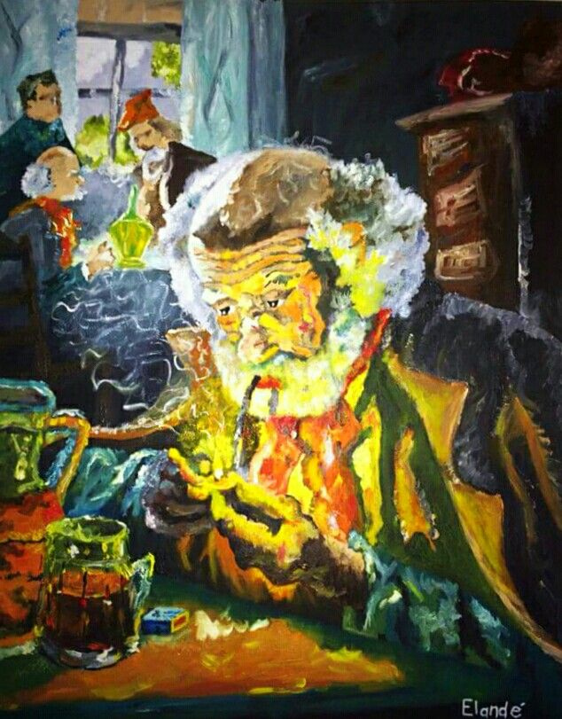 Art by Elandé Engelbrecht.  The man with the pipe.  Oil on canvas
