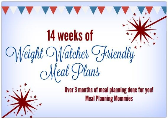 14 meal plans that are Weight Watcher friendly. Complete with printable recipes, grocery lists, and smart point values. This is over months worth of meal plans broken down into weekly meal plans.