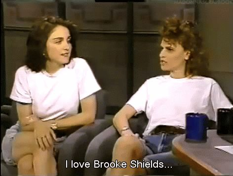 "madonnascrapbook: "" ""I love Brooke Shields"" - Madonna on David Letterman in 1988. """