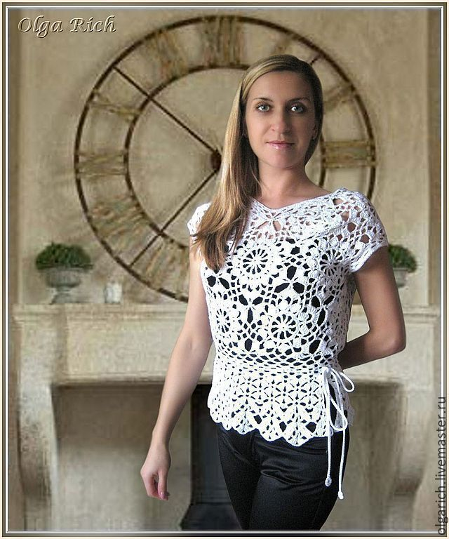 "Buy Top ""Olivia"" - white, dressy blouse, openwork pattern, fashion clothes, fishnet top"