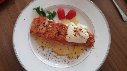 Season your salmon with salt n pepper. Pan fry it. I poached my egg 3 minutes inside a zipper bag filled with olive oil. And whisking 2 egg yolks + lemonjuice in a double boiler and adding melted butter for hollandace. Decorating it with oregano, chilli flakes and tomato.