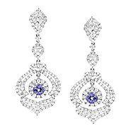 Designer Gemstone Jewelry: 18K Gold Diamond Tanzanite Dangle Earrings