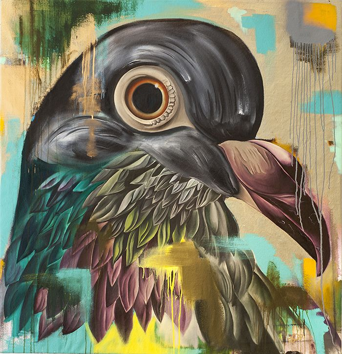 """'Camp the Pigeon' by George Keaton  (ORIGINAL)  • Charcoal, oils, house paint, & spray paint • 52"""" x 50"""" stretched canvas  • Abstract fine art painting of our cool little city pigeon (check him out on Instagram: @campthepigeon)  (Limited edition signed prints also available)  SHIPPING: This painting can be packaged and shipped within the U.S. for a flat fee of $300. FREE LOCAL DELIVERY (Chicago   Milwaukee   Madison)  http://www.babynaellakeaton.com"""
