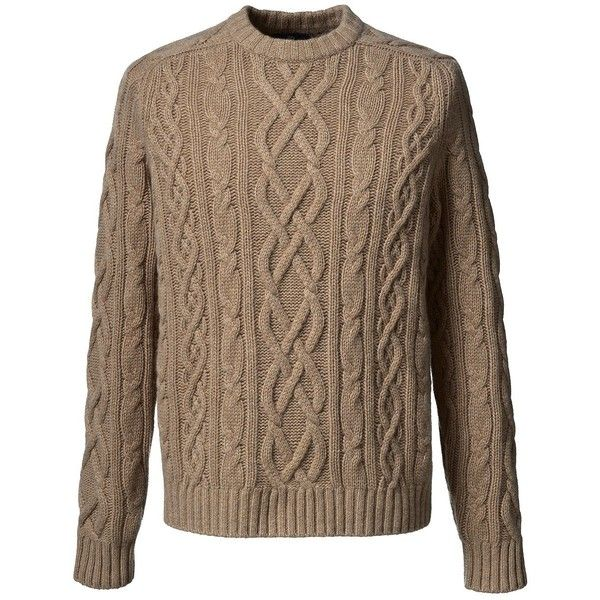 Lands' End Men's Cable Cashmere Crewneck Sweater - Aran ($398) ❤ liked on Polyvore featuring men's fashion, men's clothing, men's sweaters, brown, mens cable knit crew neck sweater, mens crewneck sweaters, mens cashmere sweaters, mens cable knit sweater and mens cashmere cable knit sweater