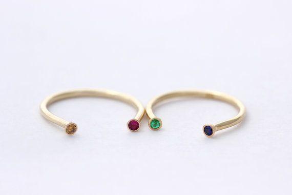 Dual Birthstone Ring  Gold Horseshoe Ring  14k Solid di artemer, $270.00