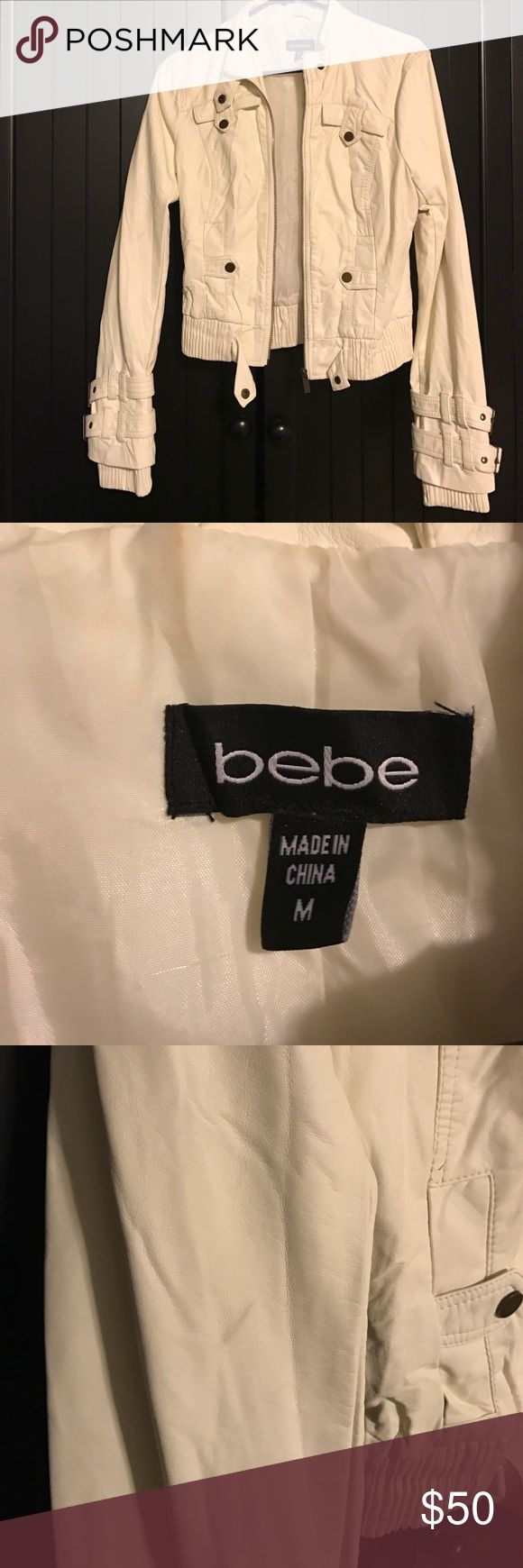 Bebe off white leather jacket Military style / size medium / worn a handful of times. Slight marking in the right sleeve displayed in photo. Interior lining is polyester. bebe Jackets & Coats
