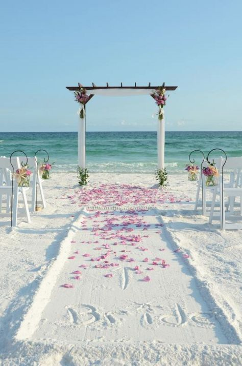 50 Beach Wedding Aisle Decoration Ideas | Lavender  Rose petals available at Flyboy Naturals www.flyboynaturals.com http://www.deerpearlflowers.com/50-beach-wedding-aisle-decor-ideas/