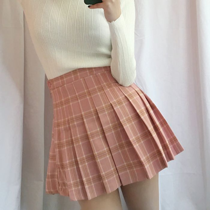 Adorable cute check pink tone pleats skirt