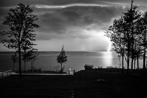 Lightning On Lake Michigan At Night In Bw Photograph by Mary Lee Dereske #michigan #fineart #fineartamerica