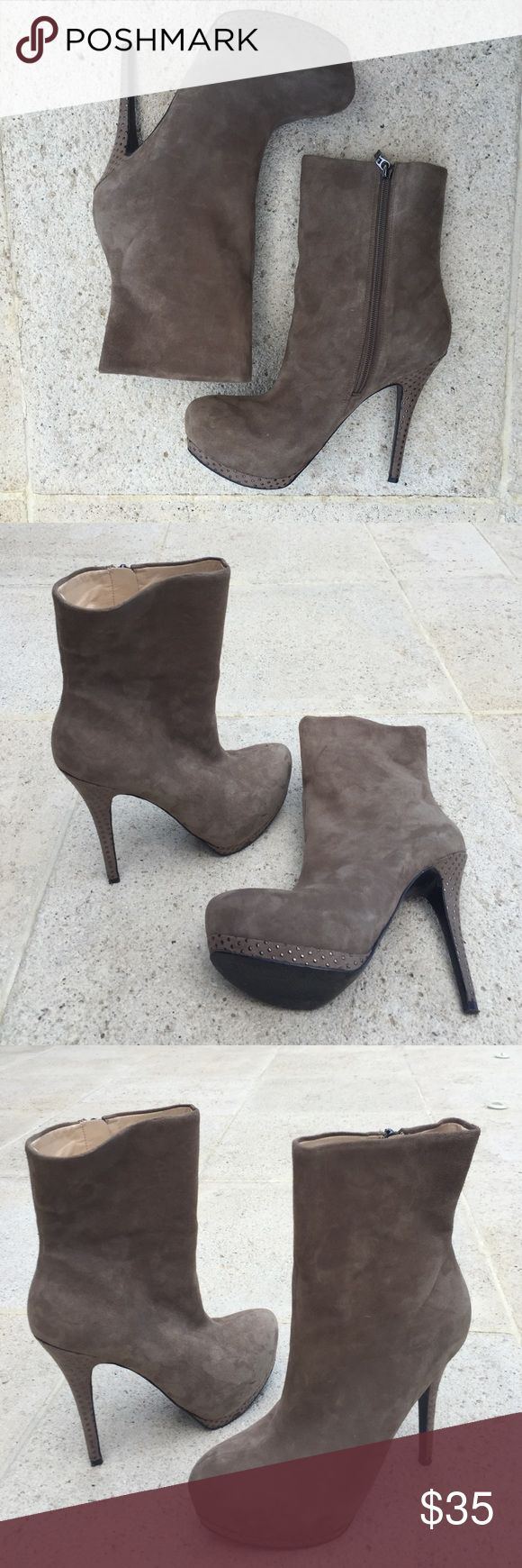 GUESS gray suede boot heels GUESS gray suede ankle boot heels in mint condition. Only walked around the house with these, never actually wore them anywhere! They're gorgeous but I live in Florida and never wear them :( GUESS Shoes Heeled Boots