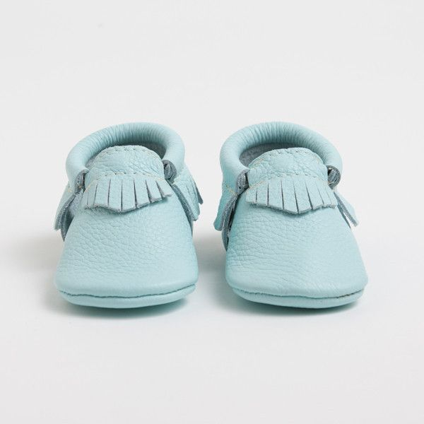 New Spring Color from Freshly Picked! Glacier | Genuine Leather Moccasins for Kids
