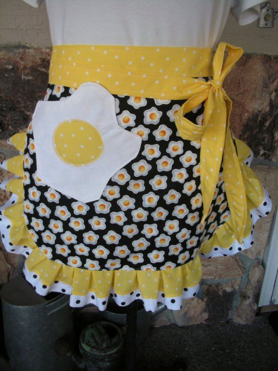 Aprons  Womens Half Apron  Apron with Egg Fabric  by AnniesAttic, $32.95
