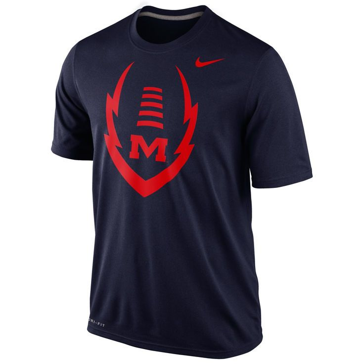 Ole Miss Rebels Football Icon Legend Dri-Fit Performance T-Shirt - Navy Blue - $22.99
