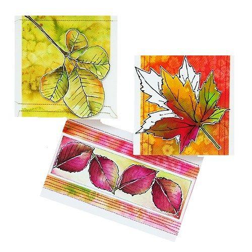 Shadowpaint set.  Set voor het maken van 6 herfst kaarten.  Inhoud van de set: 6 voorbeeld foto's in kleur, duidelijke werkbeschrijving, 2 vellen zwart druk papier, 3 kaartformaten en 6 vellen shadow papier A4.  Prijs per complete set.