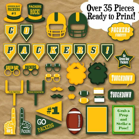 Packers Football Photo Booth Props and Party by OldMarketCorner..... Must have this for our wedding photo booth!!!