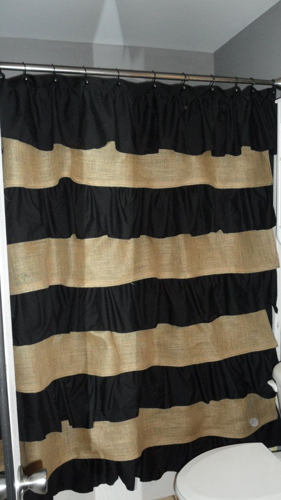 Burlap and Cotton Ruffle Shower Curtain  love! I NEED THIS NOW!!!!!!!!!!!: Burlap, Ruffles Showers Curtains, Guest Bathroom, Guest Bedrooms, Pink Black And White Bathroom, Decoration Idea, Shower Curtains, Cotton Ruffles, Master Bathroom
