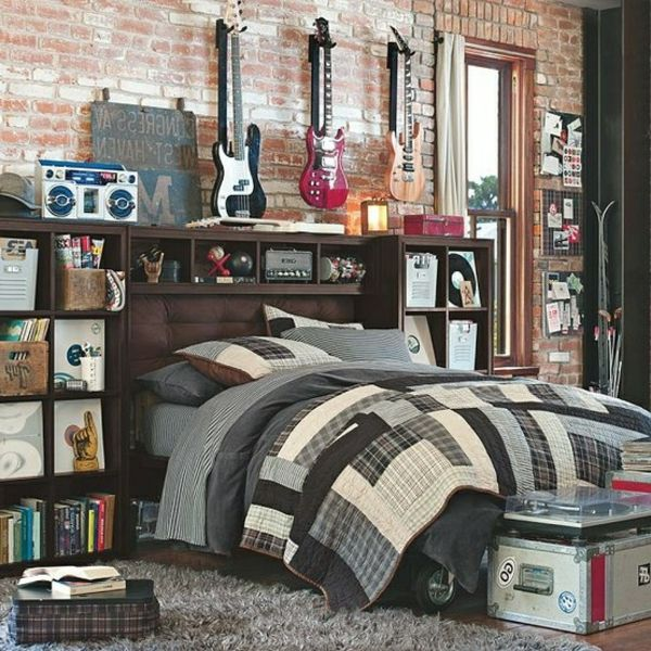 31 id es d co chambre gar on vintage d co et guitare. Black Bedroom Furniture Sets. Home Design Ideas