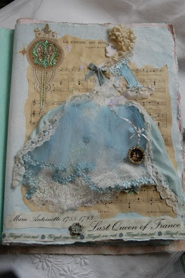 Handmade bookHandmade Book, Paper Dolls, Silk Ribbon, Marie Antoinette, Vintage Pink, Art Journals, Mixed Media, Mary Antoinette, Altered Book