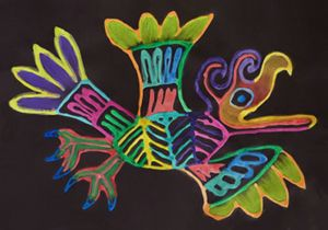 """artwork by Laina Banks. Created using instruction from the book, """"Denise Logan's Amazing Art Projects for Children"""""""