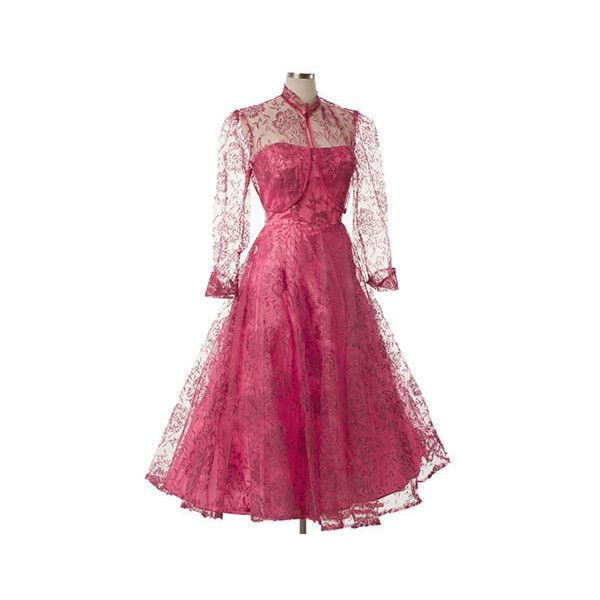 1950s Strapless Fuschia Pink Flocked Tulle Tea Length Dress ($100) ❤ liked on Polyvore featuring dresses, purple cocktail dresses, vintage prom dresses, vintage dresses, prom dresses and long pink dress