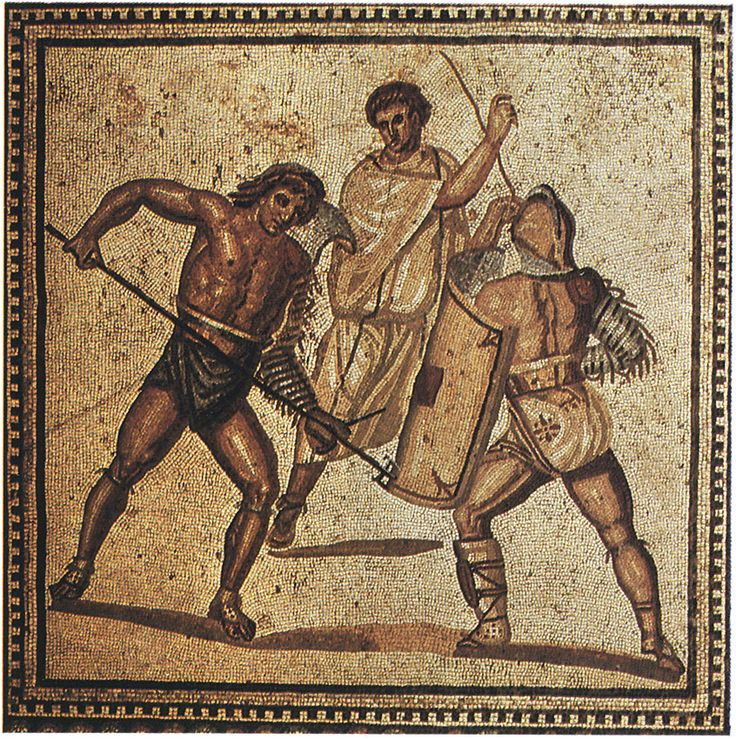 Fight of gladiators. Floor mosaic from one of the villas. Ca. 250 C.E. Nennig on Mosel (Germany), Roman Villa.