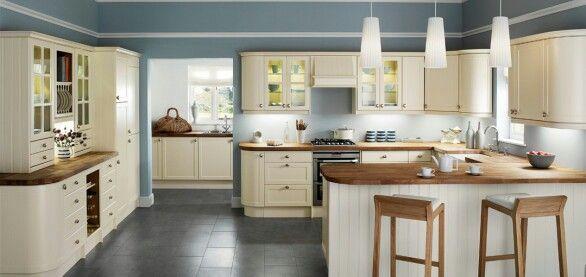 Cream kitchen oak worktops