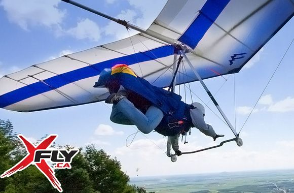 195$ pour un vol tandem en deltaplane remorqué pour une personne allant jusqu'à 4000 pieds avec XFly