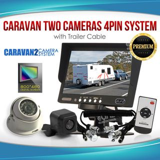 "Caravan Two Camera 4PIN System Trailer cable 7"" Monitor HD 12V/24V Reversing CCD Camera Kit"