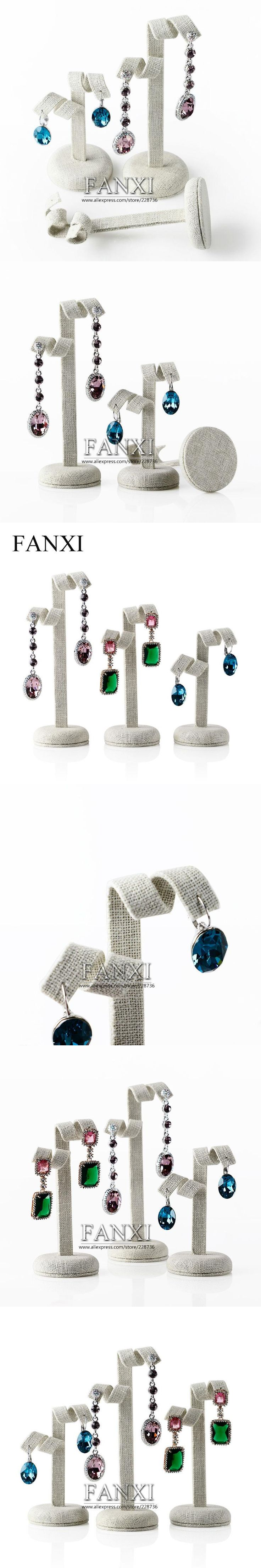 Wholesale or Retail Free shipping high quality MDF wrapped with linen earring display stand