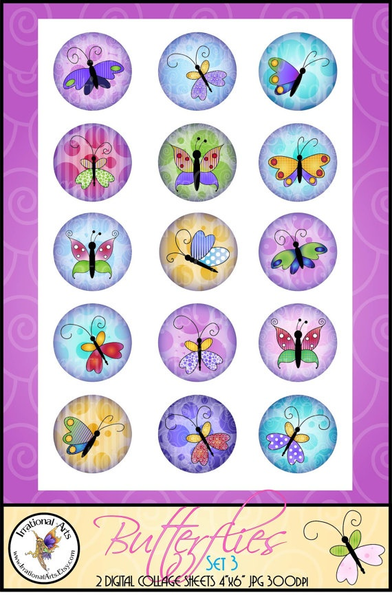 SET 3 Butterflies 1 Bottlecap Digital Collage 2 by IrrationalArts, $3.95