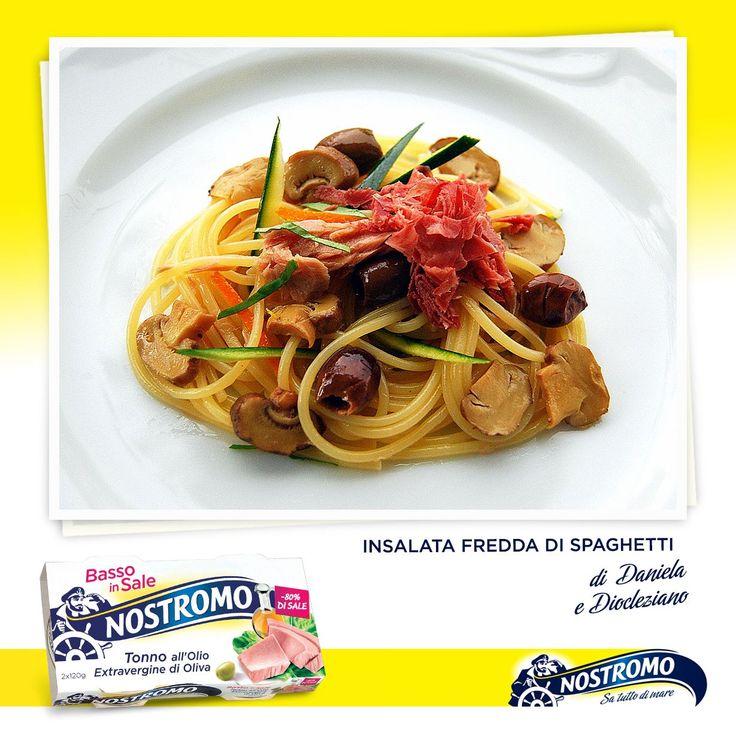 Amici del Nostromo, chi l'ha detto che gli spaghetti si abbinano solo ai sughi caldi? Provare per credere, con l'insalata di pasta fredda di Daniela e Diocleziano, autore della foto, si naviga nel gusto! Trovate la ricetta completa sul loro blog: http://danieladiocleziano.blogspot.it/2013/07/insalata-fredda-di-spaghetti_16.html Buon appetito!  #spaghetti #insalatadipasta #recipe #ricetta