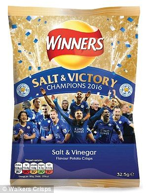 New flavour: Walkers Crips announced today that it had started production on limited edition packs of 'Salt & Victory' crisps to celebrate Leicester's win
