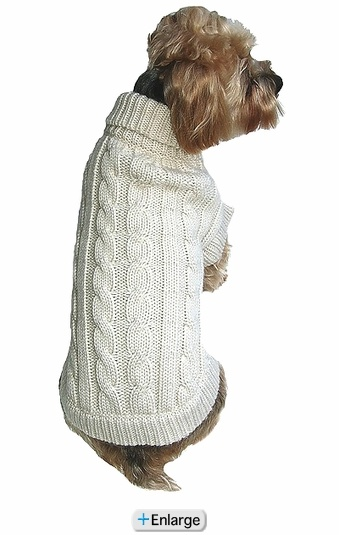 Cable Knit Natural Dog Sweater