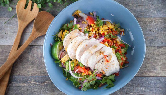 Poached Coriander Chicken Salad with Corn, Avocado & Tomato | Good Chef Bad Chef