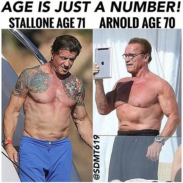 Don't let your age be an excuse!  Get it THE GRIND WAY!  Legends Arnold Schwarzenegger, and SYLVESTER STALLONE still 💪‼️ #gymmemes #motivation #fitness #arnold #sylvesterstallone #lajollalocals #sandiegoconnection #sdlocals - posted by SD  Master Trainer 💪☀🌴🌊🏄🏾  https://www.instagram.com/sdmt619. See more post on La Jolla at http://LaJollaLocals.com